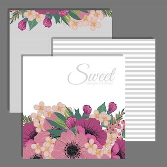 Цветочный шаблон карты с розовыми цветами