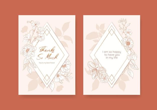 Modello di carta floreale con illustrazione dell'acquerello di disegno di concetto di arte di linea di primavera