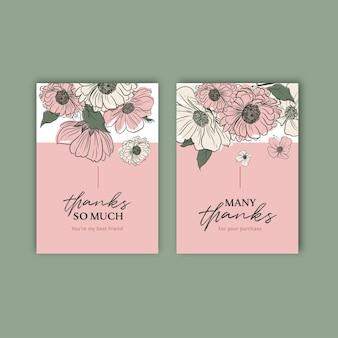 봄 라인 아트 컨셉 디자인 수채화 일러스트와 함께 꽃 카드 템플릿