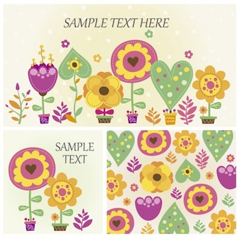 Floral cards and banner