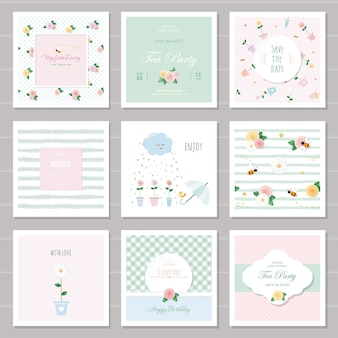 Floral cards and patterns set