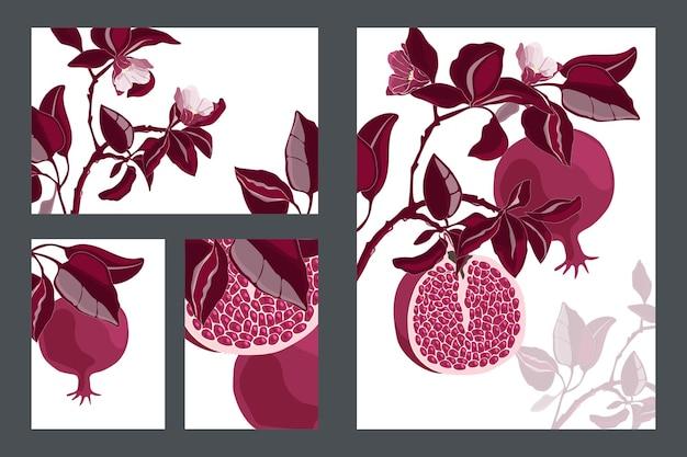 花のカード、テンプレート。あずき色の果物と葉を持つザクロの木。白い背景に分離された穀物と花を持つ熟したザクロ。