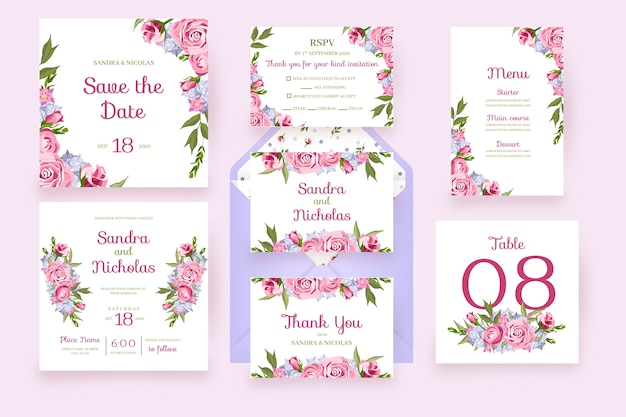 Floral cards with frame flowers wedding stationery in pink