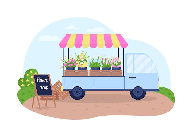 Цветочная тележка. продажа цветов из фургона с плоским пейзажем по мультфильму