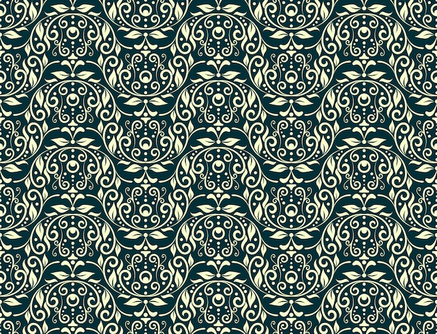 Floral carving seamless pattern green