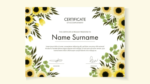 Floral certificate template with delicate romantic flowers for awards courses workshop
