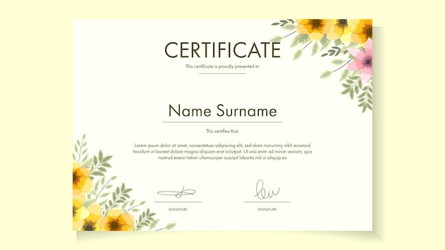 Floral certificate template with delicate romantic flowers for eco friendly awards, health awards, warranty, guarantee, courses, workshop, sample vector illustration easy to edit, customizable