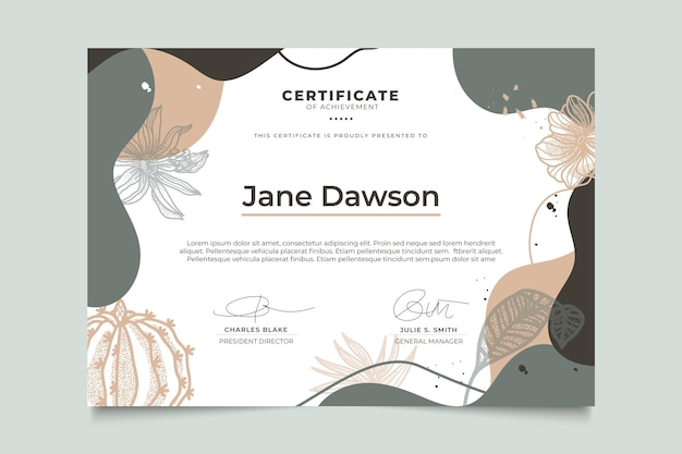 Floral certificate with leaves template