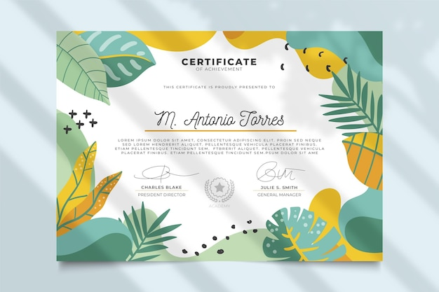 Floral certificate with leaves
