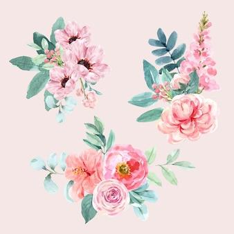 葉、アネモネのイラストの水彩画と花の魅力的な花束。