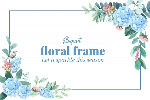 Floral charming frame with hydrangea, peony watercolor illustration.