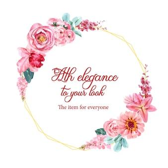 キンギョソウ、バラのイラストの水彩画と花の魅力的な花輪。