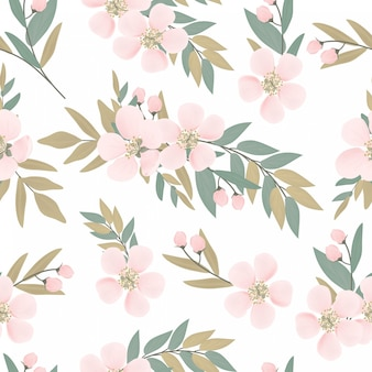 Floral cherry blossom bouquet seamless pattern