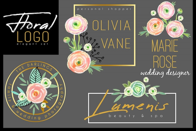 Floral chic logo template with watercolor roses