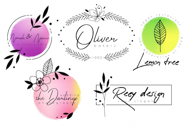 Floral chic logo template with watercolor shapes