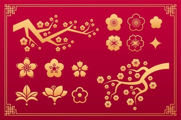 Floral chinese pattern, sakura oriental ornament, asian traditional decorative gold elements