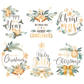 Floral christmas badge collection in watercolor style