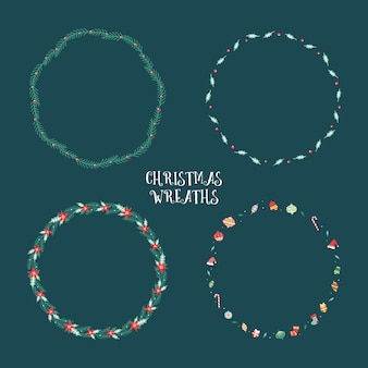 Floral christmas elements wreaths