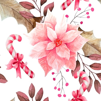 Floral christmas pattern watercolor style