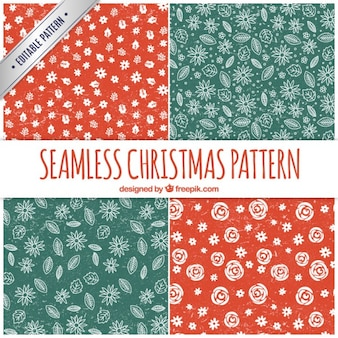 Floral christmas patterns in stamped style