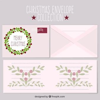 Цветочные рождественские открытки с конвертами