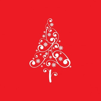 Floral christmas tree background