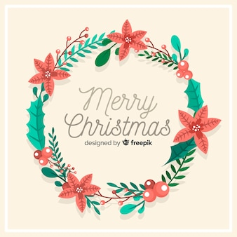 Floral christmas wreath background