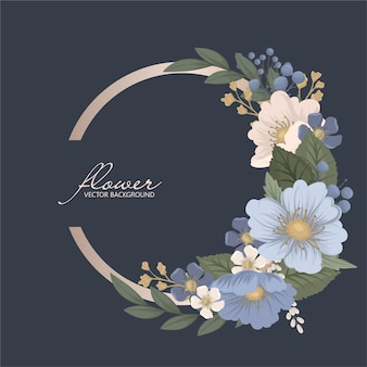 Floral circle border Premium Vector