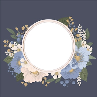 Floral circle frame - blue round frame with flowers
