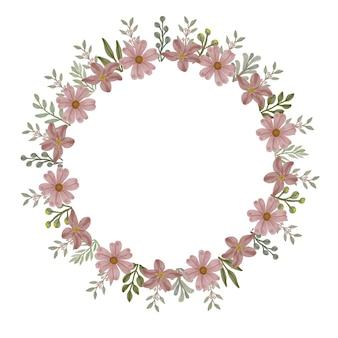ほこりっぽいピンクの花のサークルフレーム