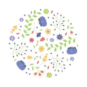 Цветочный круг с цветами и листьями. летнее или весеннее время.