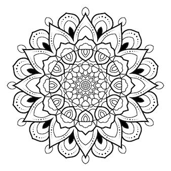 ページを着色するための花の円形のマンダラの黒と白のアウトライン.yoga.therapy.meditation