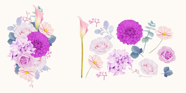 Floral clipart of purple flowers