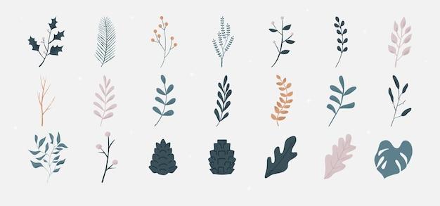 枝の葉を持つ花のコレクション。