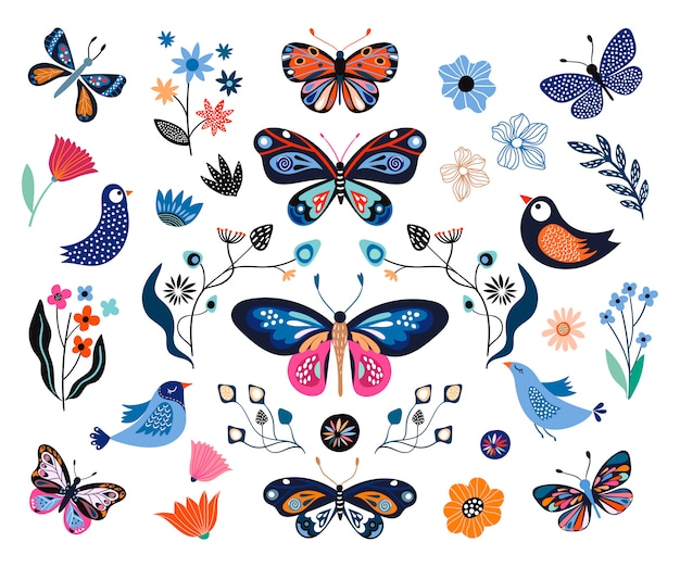 Floral collection with decorative elemets, butterflies, flowers, birds