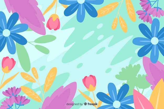 Floral colorful flat design abstract background