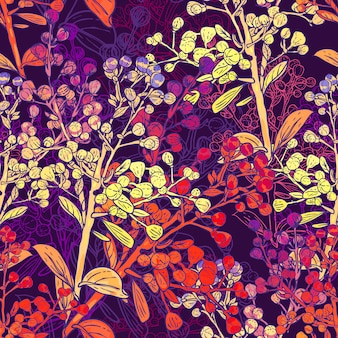 Floral colorful seamless background with branches