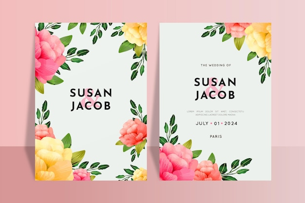 Floral colorful wedding invitations template