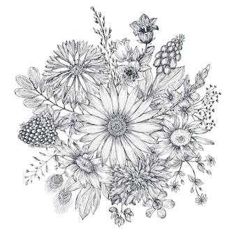 花の組成。手描きの花や植物の花束。スケッチスタイルのモノクロのベクトル図。