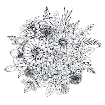 Цветочная композиция. букет с рисованной цветами и растениями.