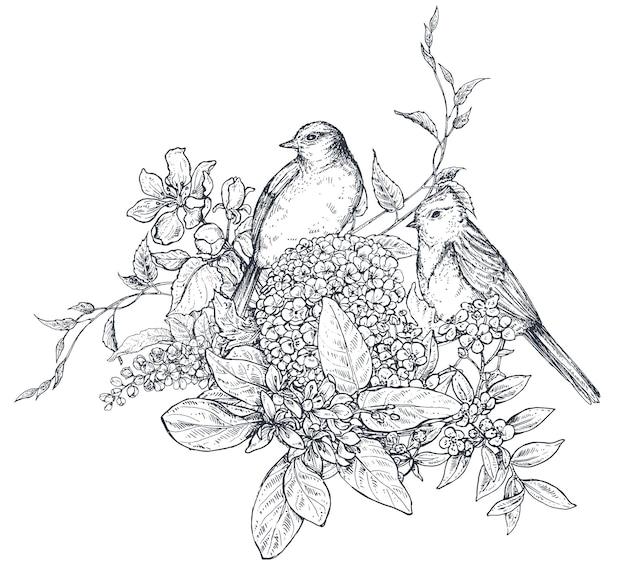 花の組成。手描きの花、花の枝、葉、鳥の花束。スケッチスタイルのモノクロのベクトル図。
