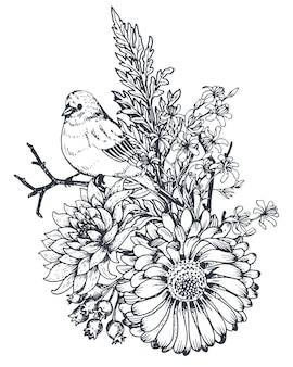 Цветочная композиция. букет с рисованной цветами, растениями и птицами.