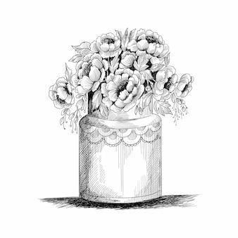 花の組成。手描きの春の花と植物の花束