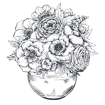 Floral composition. bouquet with hand drawn spring flowers and plants. monochrome