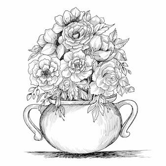 Composizione floreale. bouquet con piante e fiori primaverili disegnati a mano