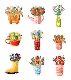 花の組成は、花瓶のさまざまな形と白い背景で隔離のサイズで花を設定