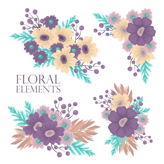 Floral composition set with colorful flower