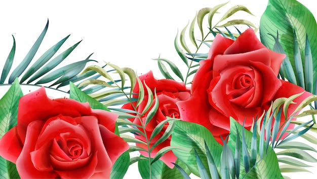Floral composition with red roses, rosebuds and leaves