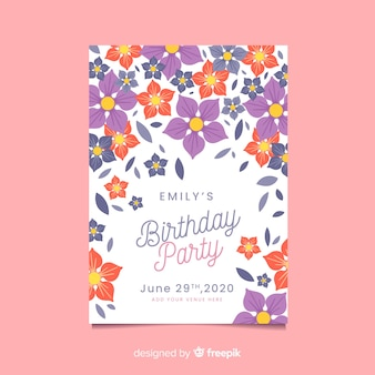 Floral concept for birthday invitation