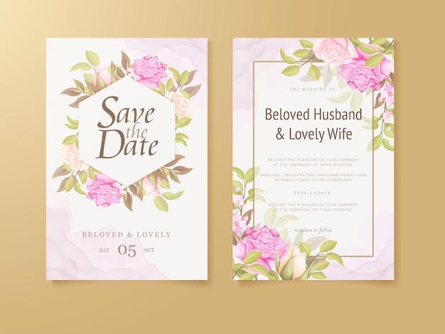 꽃 개념 결혼식 초대 카드 서식 파일 디자인